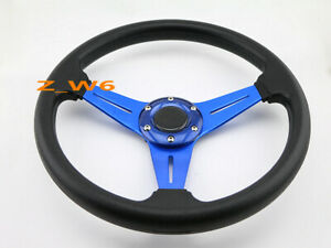 350mm Jdm 6 Bolt Black Pvc Blue Aluminum Racing Steering Wheel Horn Button