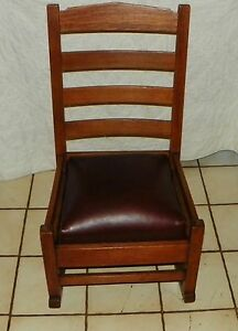 Quartersawn Oak Gustav Stickley Mission Sewing Rocker Rocking Chair R176