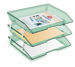 Acrimet Facility 3 Tiers Triple Letter Tray clear Green Color