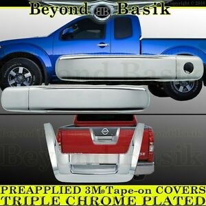 Fits 2005 2012 Nissan Frontier Chrome 2 Door Handle 1k Tailgate Covers Overlay