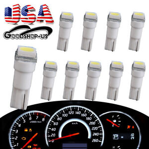 10 X T5 5050 Smd Cool White Car Wedge Led Bulb Instrument Dashboard Gauge Lights