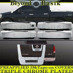 For 2004 2012 Nissan Titan Crew Cab Chrome Door Handle Tailgate Covers Overlays