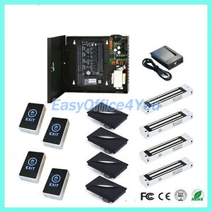 Access Control 4 Doors Board Security System 280kg Force Magnetic Door Lock