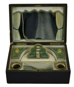 Rare Victorian Ebony Wood And Brass Inlay Sewing Case Or Vanity Box
