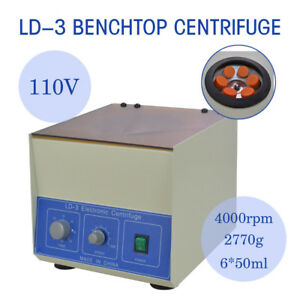 New Ld 3 Electric Benchtop Centrifuge Lab Medical Practice 4000rpm 6 50ml