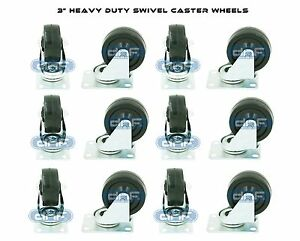 12 Pack 3 Swivel Caster Rubber Wheels Top Plate Bearing Heavy Duty 360