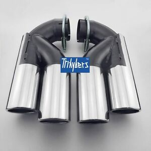 Pair Stainless Steel Exhaust Tips For Vw Touareg Porsche Cayenne Audi Q7