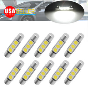 8x 28mm 29mm Sun Visor Vanity Mirror Hid White Fuse Festoon 5050 3smd Led Light