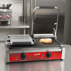Double Grooved Electric Commercial Restaurant Panini Sandwich Grill Press 120 V