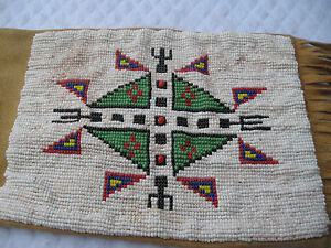 American Indian Signed Antique Plains Potawatomi Beaded 32 Tobacco Pipe Bag