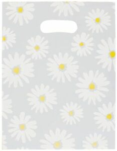 500 Daisy Frosted Plastic Merchandise Gift Bags 9 X 12 Die cut Handle
