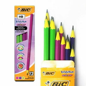 18 X 12s Bic Evolution Colors Hb Graphite Break resistant Wood free Pencils Box