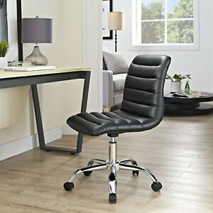 Mid back Armless Design Office Task Chair In Black Ripple Faux Leather