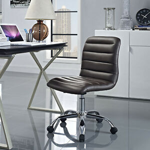 Mid back Armless Design Office Task Chair In Brown Ripple Faux Leather