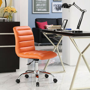 Mid back Armless Design Office Task Chair In Orange Ripple Faux Leather