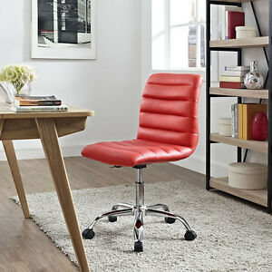 Mid back Armless Design Office Task Chair In Red Ripple Faux Leather