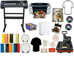 5 In1 Combo Heat Transfer Press vinyl Plotter Cutter Printer Refil Tshirt Bundle
