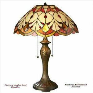 Antiqued Tiffany Style Flowing Buds Stained Glass 23 Handmade Table Lamp
