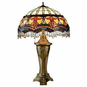 Authentic Victorian Parlor Tiffany Style Stained Glass 30 Sculpture Table Lamp