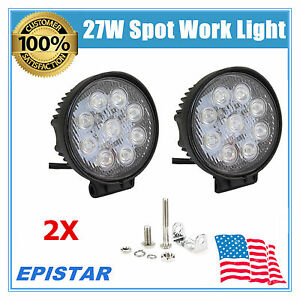 9 Led 2x 27w Round Led Spot Light Driving Working Fog Off Road Lamp For Jeep Car