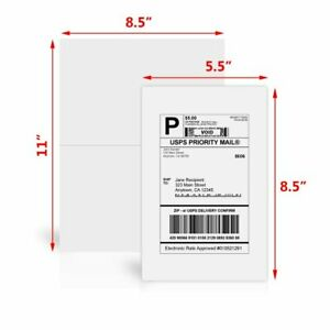 400 Half Sheet Shipping Labels 8 5 X 5 5 Self Adhesive 2 Per Sheet Usps Paypal