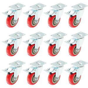 12 Lot 4 Caster Wheels Swivel Plate Total Lock Brake Red Polyurethane Pu