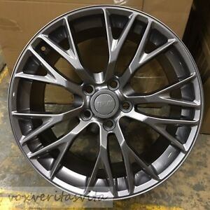 18 19 Gunmetal Grey C7 Z06 Style Wheels Rims For 2005 2013 C6 Corvette Base Z51