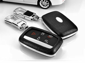 Bk Car Remote Leather Fob Key Cover For Land Rover Lr4 Range Rover Evoque