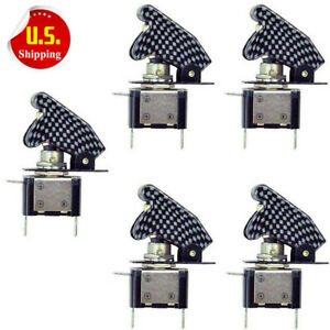 5pcs Red Led Carbon Fiber Toggle Switch Control 12v On Off For Car Spst Full New