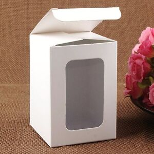 Rectangle White Paperboard Gift Craft Packing Box With Clear Window Favor Boxes