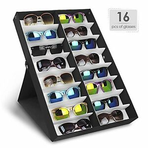 2 Sunglasses Display Rack Holder Stand Organizer Storage 16 Eyewear Tray Box