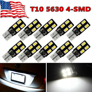 10x White T10 5630smd Led Canbus Dome Map Interior Light Bulbs W5w 192 194 2825