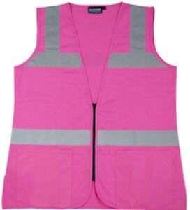 Erb S721 Pink Safety Vest Ladies Contour Fitted Hi visibility Size Large