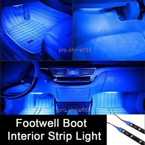 12 Blue 12smd Led Interior Exterior Strip Footwell Dash Ambient Light Fit Benz