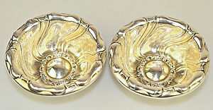 2 Antique Meriden Britannia Sterling Silver Deep Flower Nut Mint Dishes 58g 443