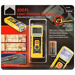 Tool House Laser Distance Measurer 100ft Digital Replaces Tape Measure