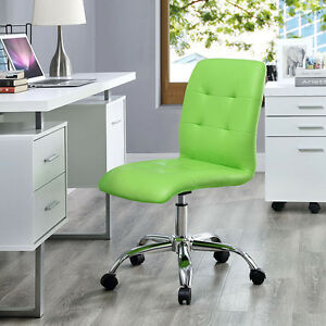 Mid back Armless Design Office Task Chair In Bright Green Tufted Faux Leather