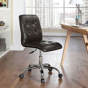 Mid back Armless Design Office Task Chair In Brown Tufted Faux Leather