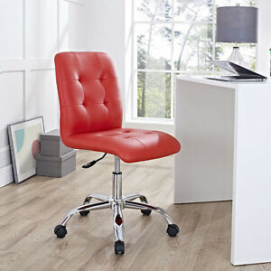 Mid back Armless Design Office Task Chair In Red Tufted Faux Leather