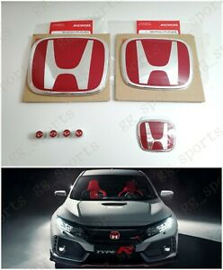 Type R Red H Emblem Front Rear Steering Fit For 2016 2020 Honda Civic Coupe 2dr
