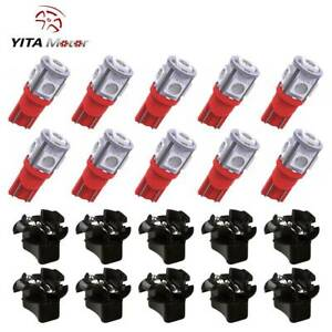 10x T10 Red Pc194 Led Bulb Instrument Panel Dashboard Light Twist Lock Socket