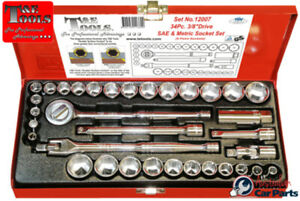 Socket Set 3 8 drive 6 Point Sae metric 34 Piece Set T e Tools 12007 New Special