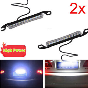 2x Xenon White 12 Smd Bolt On Led License Plate Light Lamp For Car Universal Fit