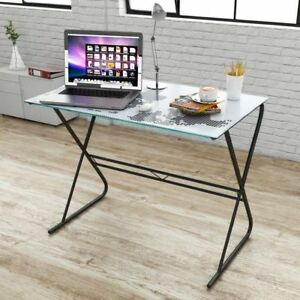 Computer Desk World Map Modern Stylish Glass Table Home Office Study Furniture