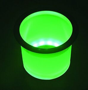 Green Glowing Led Cup Holder W Stainless Rim 3 5 8 Hole Required Boat Cup