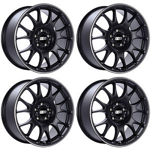 Bbs Ch Wheels 18x8 5 5x100 30 30mm 30 Offset Ch002 Rims Black Polished Lip