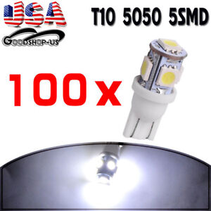 100x Cool White T10 Wedge 5050 5smd License Interior Led Light Bulb 168 194 2825