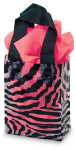 Pack Of 100 New Small Zebra Print Transparent Plastic Shopping Bag 5 X 3 X 7