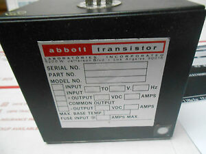 Ww12dr4 0 Abbott Power Supply 12vdc 120 In 400hz New Old Stock