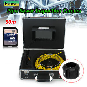 50m 7 Lcd Drain Pipe Pipeline Inspection Sewer Camera Dvr Recording W 8gb Card